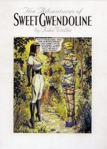 "Capa do Livro ""Adventures of Sweet Gwendoline"", de John Willie"